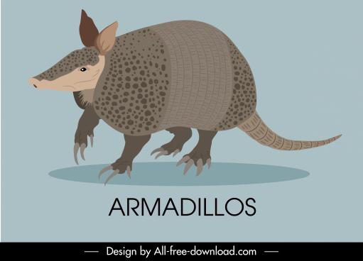 armadillos animal icon colored handdrawn sketch