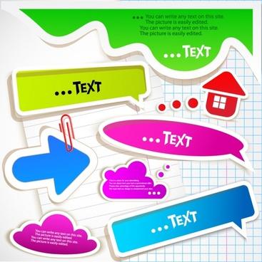 arrow box label stickers vector