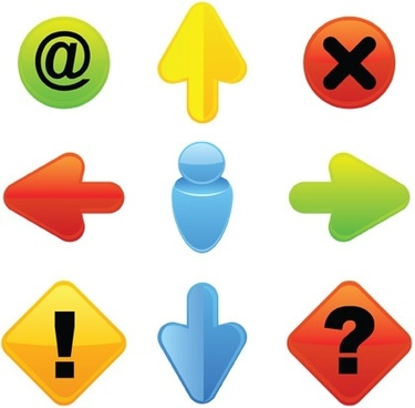 digital button icons modern colorful shapes