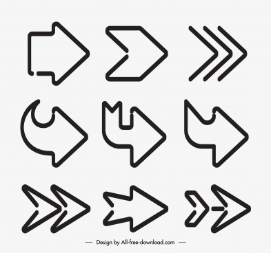 arrow icons templates flat retro shapes