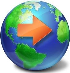 Arrow on globe earth