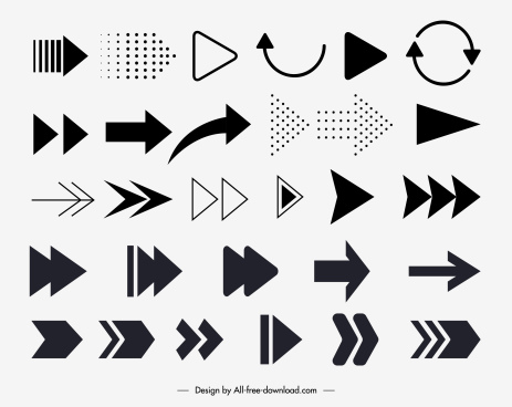 arrows signs templates black white flat shapes sketch