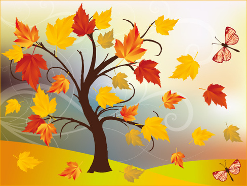 art autumn tree creative background vector