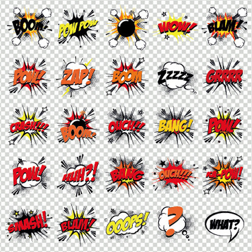 art objects comics logos vector