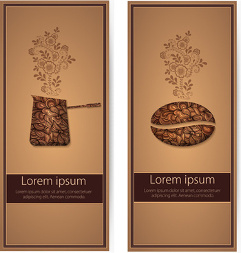 art pattern with coffee card vector