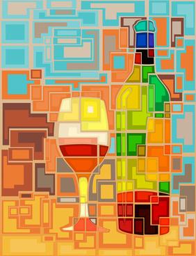 art wine bottle background vector