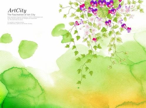 artcity handpainted flowers psd layered