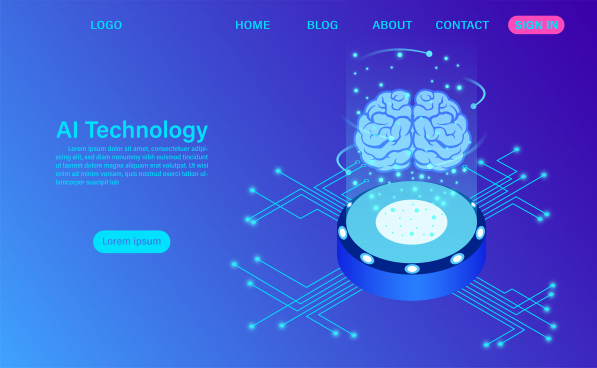 artificial intelligence technology concept data and engineering concept isometric