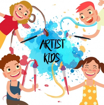 artist kids background joyful children grunge colored decor
