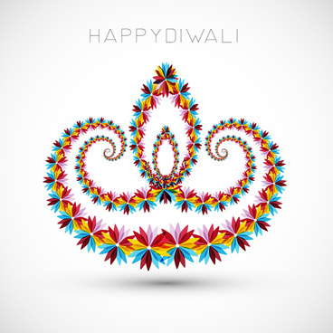 artistic with floral colorful decoration for diwali festival celebration design vector
