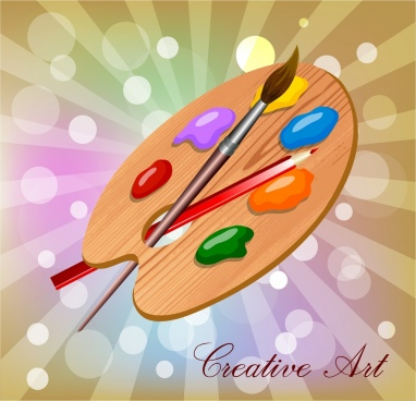 artwork background paint brush tray bokeh decor