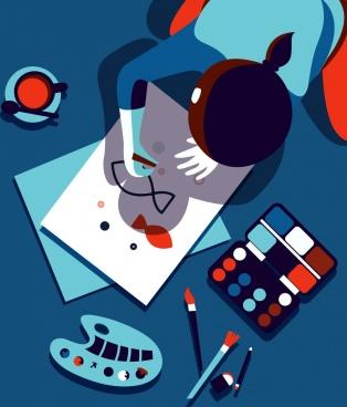 artwork drawing human painting shadow icons cartoon design
