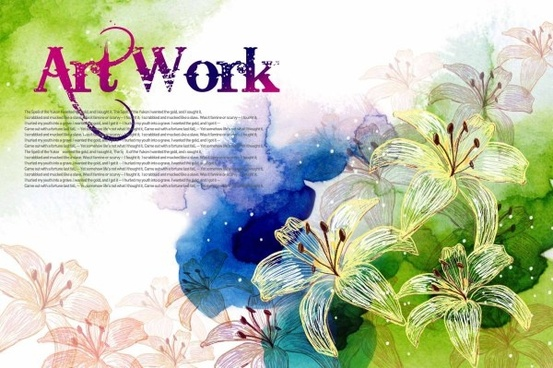 artwork handpainted flower psd layered