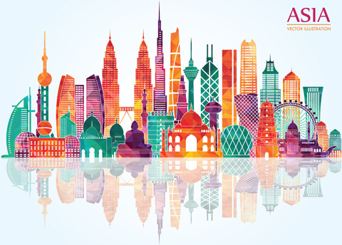 asia landmark building colored vector