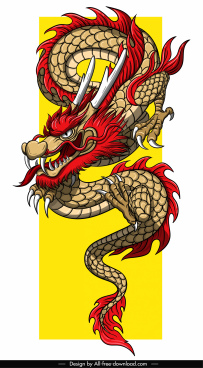 asian dragon template colorful impressive design