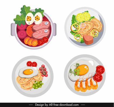 asian food icon colorful flat design bowl ketch