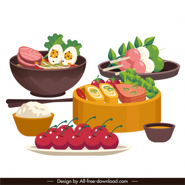 asian meal background colorful 3d sketch