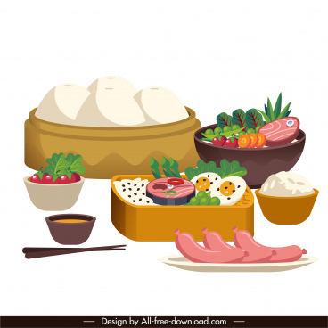 asian meal background colorful classic decor