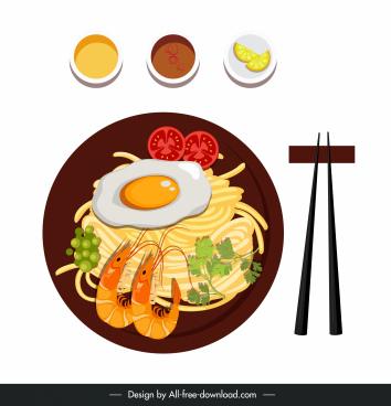asian noodle cuisine icon colorful flat sketch