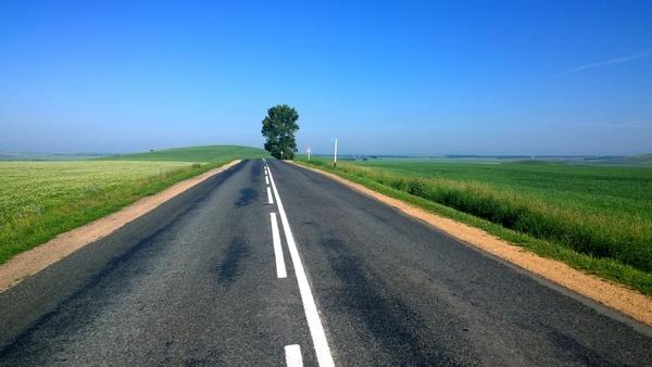 asphalt blur countryside curve direction empty far