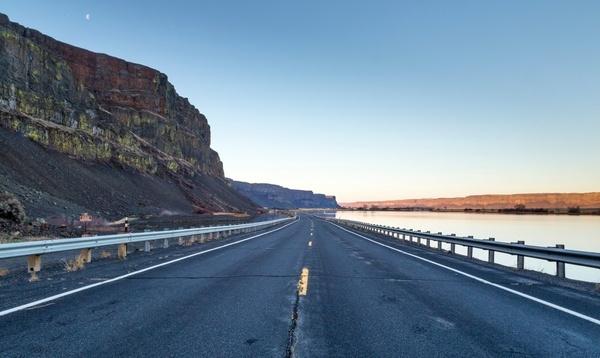 asphalt bridge distance empty freeway highway