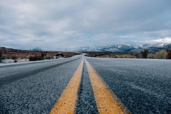 asphalt direction distance field frozen highway ice
