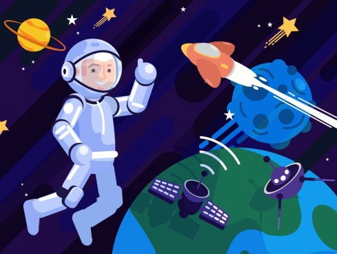 astrology background astronaut planets spaceship icons cartoon design