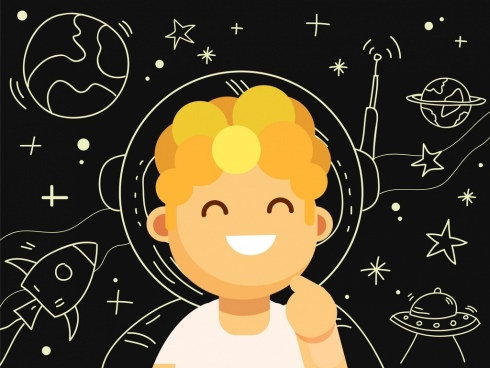 astrology background cute boy icon space element sketch