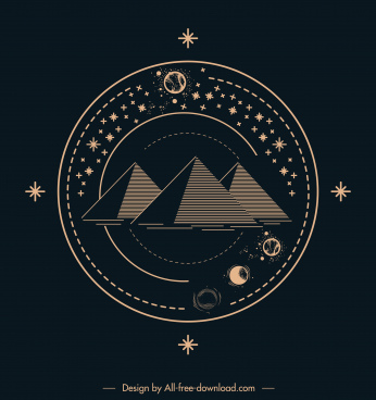 astrology tattoo template pyramid planets motion sketch