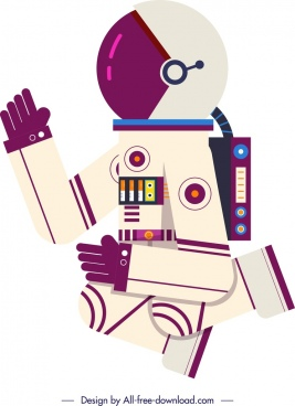 astronaut background cartoon character colored flat design
