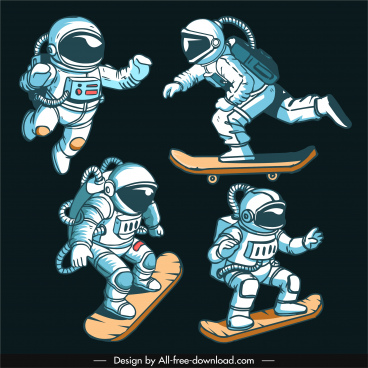 astronaut icons dynamic cartoon character sketch