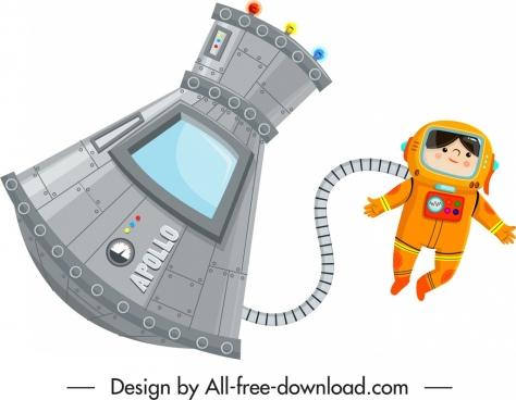 astronaut work icon modern design cartoon sketch