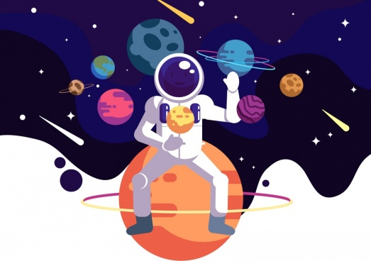 astronomy background astronaut planets icons cartoon design