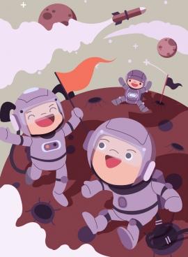 astronomy background joyful kids astronaus icons cartoon characters