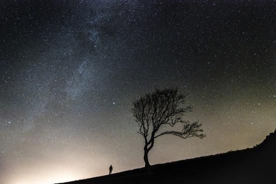 astronomy backlit evening galaxy landscape light
