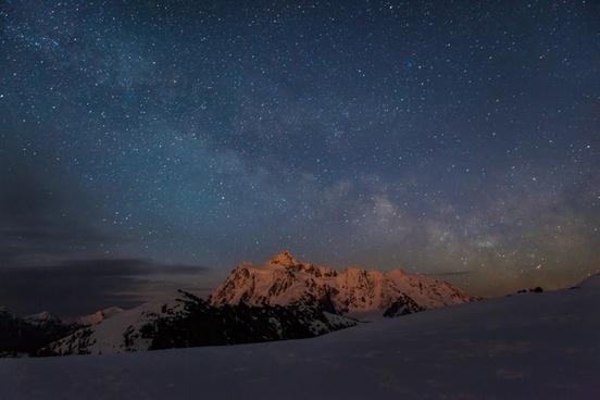 astronomy desert evening full moon galaxy landscape