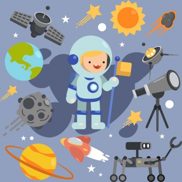 astronomy design elements astronaut planet spaceship icons