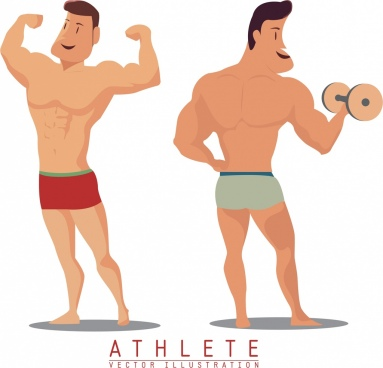 athlete icons colored cartoon design