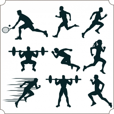 athlete icons various sports design elements silhouette decor