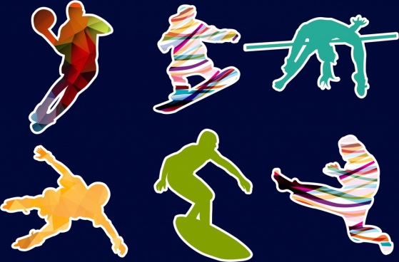 athletes icons collection multicolored silhouette decoration