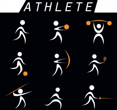 athletes signs isolation circle curves design