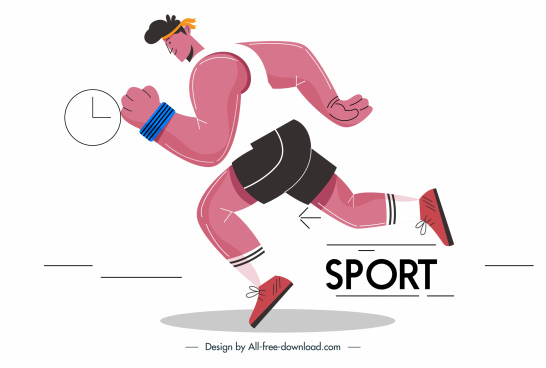 athletic sports icon dynamic jogger sketch cartoon design