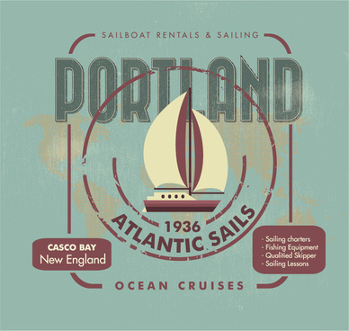 atlantic sail banner design with antique style