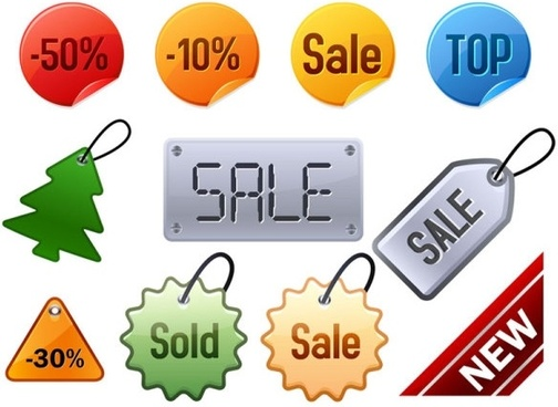 attractive discounts listed on labels vector
