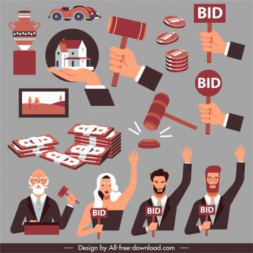 auction design elements assets bidding action elements sketch