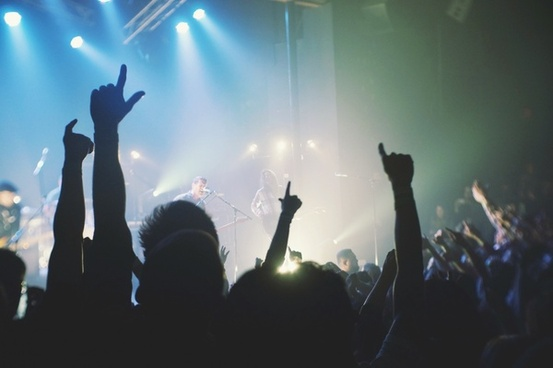 audience band entertainment hand light music people