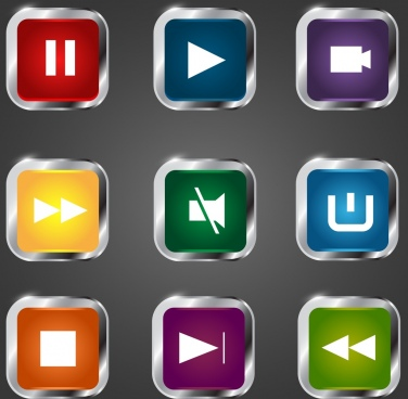 audio buttons icons shiny squares ornmanet