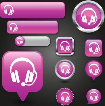 audio buttons vector illustration with pink background