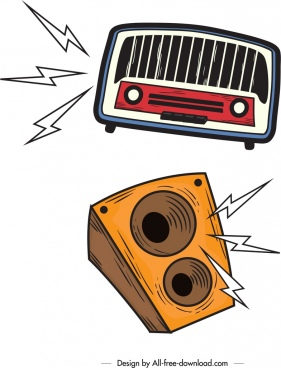 audio design elements radio speaker icons retro design