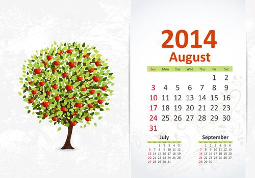 august14 calendar vector